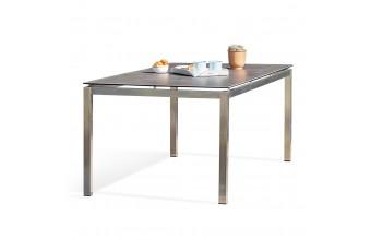 Table de jardin TORINO 200x100cm plateau céramique et structure  inox - GRIS
