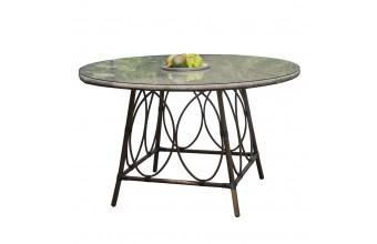 Table ronde USHUAIA diam 125 cm en aluminium marron, plateau verre et textilène - LIN