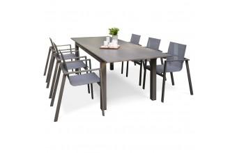 Salon de jardin aluminium sable 6 fauteuils Zahara