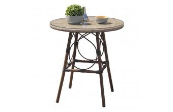 Table ronde USHUAIA diam 70 cm en aluminium marron, plateau verre et textilène