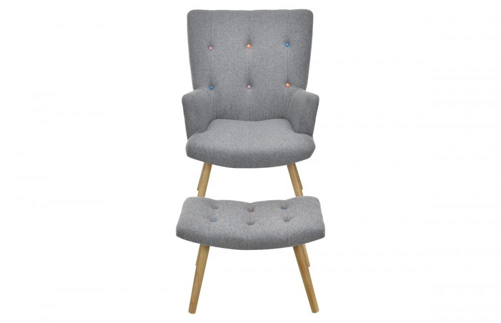 fauteuil vintage repose pieds gris clair pi ce vivre. Black Bedroom Furniture Sets. Home Design Ideas