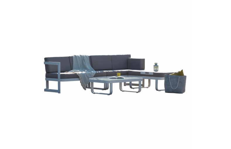 Salon d'angle 6 places en aluminium gris anthracite
