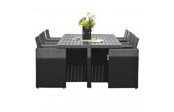 Encastrable 8P en résine tressée,  plateau aluminium: 1 table + 8 fauteuils