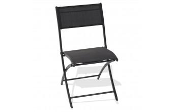 Chaise pliante anthracite et blanc