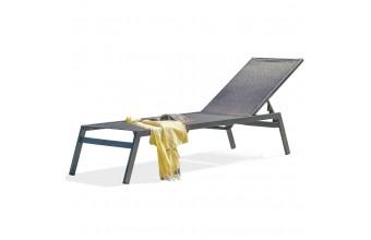 Chaise longue MAYOTTE en aluminium gris anthracite et textilène NOIR