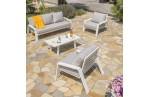 Salon IBIZA 5 Places : table basse + canapé 3 Places + 2 fauteuils en aluminium - BLANC
