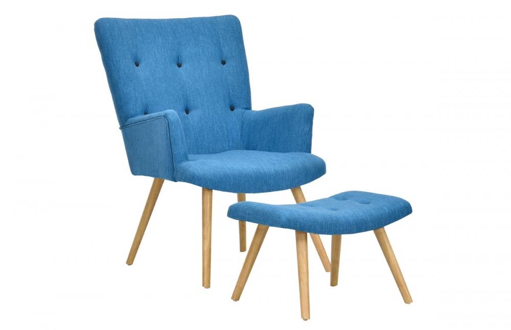 fauteuil scandinave repose pieds bleu canard pi ce vivre. Black Bedroom Furniture Sets. Home Design Ideas