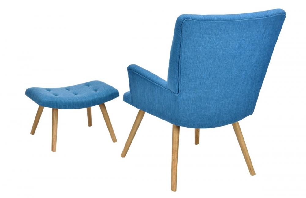 Fauteuil scandinave repose pieds bleu canard pi ce vivre - Fauteuil bleu canard ...